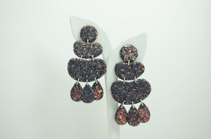 Polymer Clay 4 Tier Blob Earrings - Iridescent Glitter