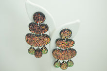 Load image into Gallery viewer, Polymer Clay 4 Tier Blob Earrings - Iridescent Glitter