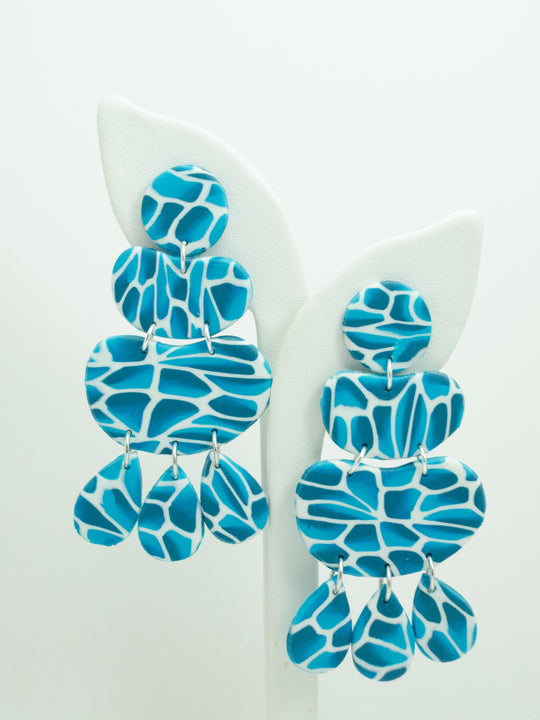 Polymer Clay 4 Tier Blob Earrings - Water