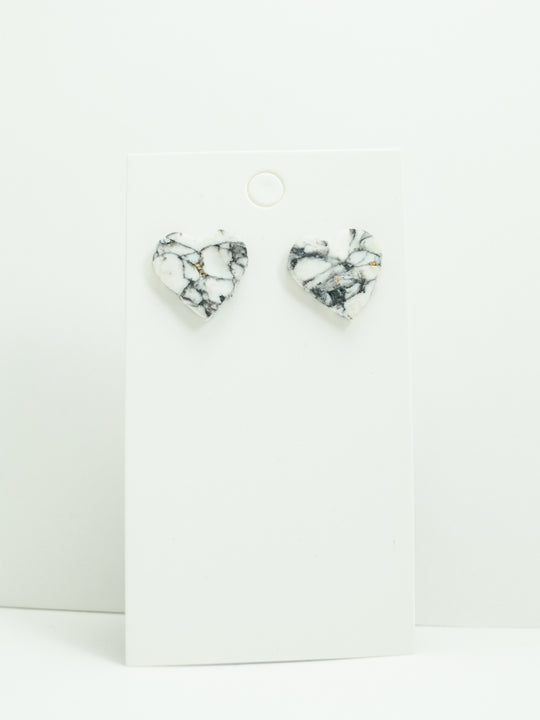 Polymer Clay Mini Heart Studs -  White/Black Marble