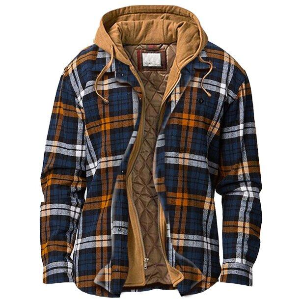 Man Casual Multicolor Plaid Zipper Hooded Coat