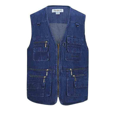 Men's Multi-pocket Zipper Breathable Denim Vest
