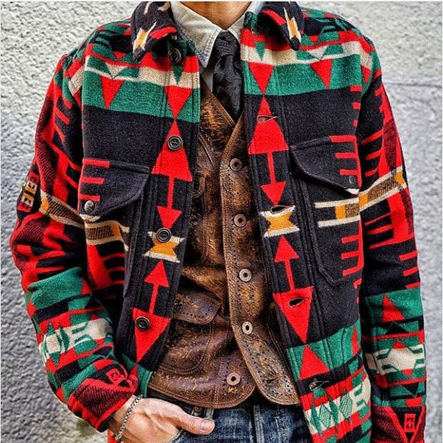 Men's Casual Chrismas Jacquard Long Sleeve Coat