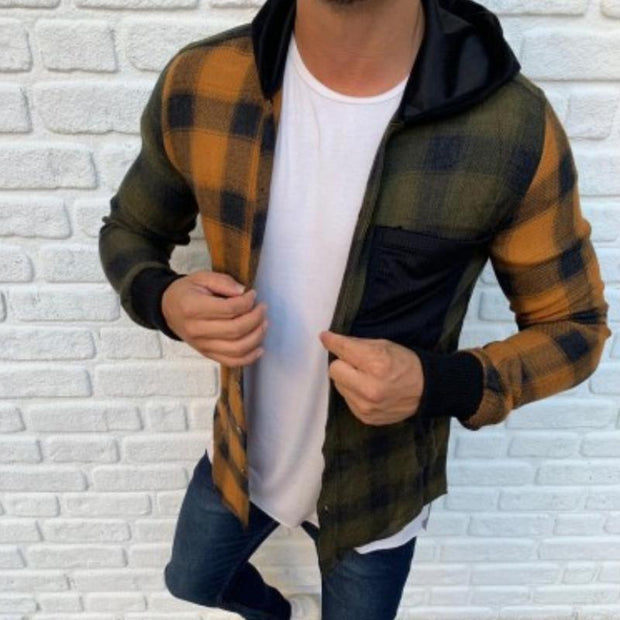 Men's Casual Plaid Long Sleeve Street Fashion Coat