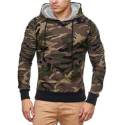 Man Camouflage Pleated Casual Hooded Pullover