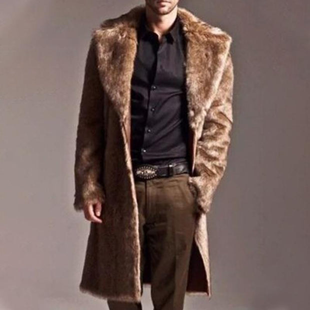 Men's Imitation Fur Collar Duffle Coat