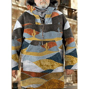 Man Retro Landscape Printing Hooded Pullover