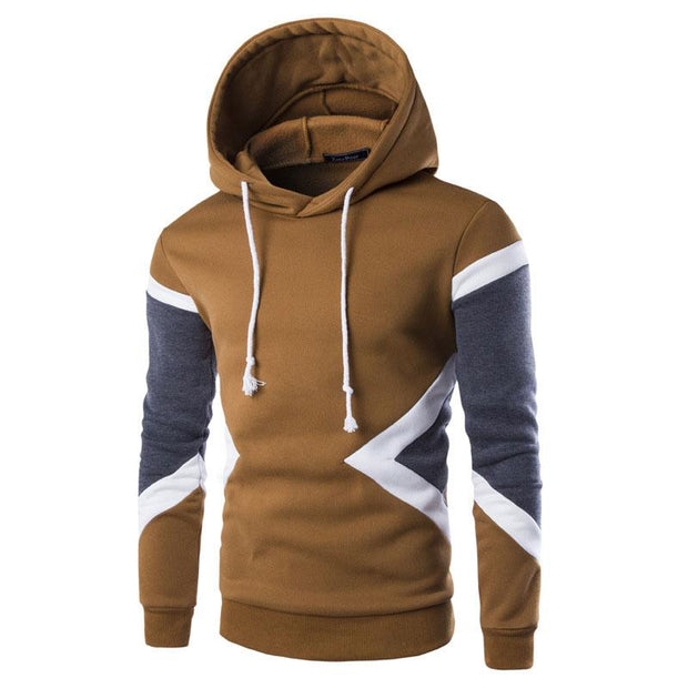 Man Casual Contrast Color Hooded Pullover