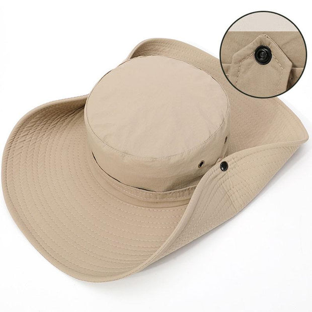 Man Outdoor Wide Brim Bucket Hat Sun Hat