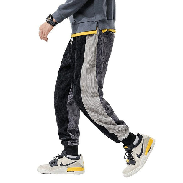 Man Casual Solid Color Splicing Sport Long Pants