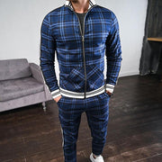 Man Outdoor Sports Style Plaid Zipper Coat Suit