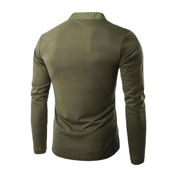 Man Casual Button Solid Color T-shirt Pullover