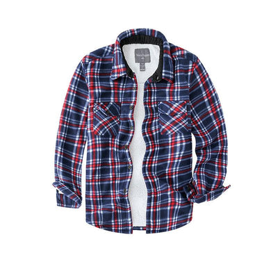 Man Casual Plaid Pattern Lapel Winter Coat