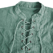 Man Casual Solid Color Lace-up Tie-dyed Shirt