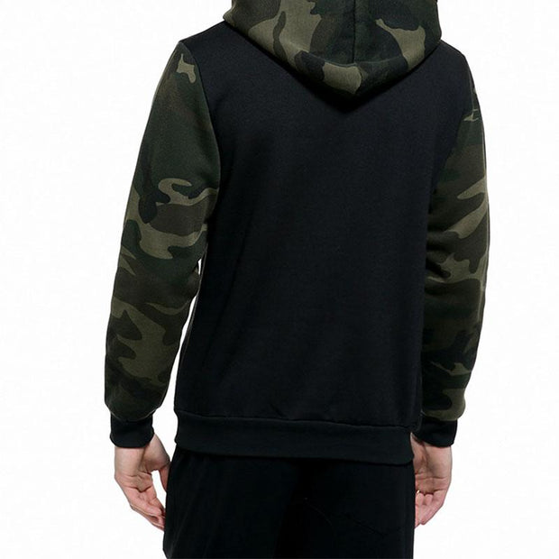 Men's Contrast Color Camouflagen Sport Hooded Pullover