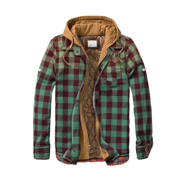 Man Casual Gradient Multicolor Plaid Hooded Coat