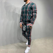 Men Casual Multi-color Stripe Plaid Zipper Sportswear Suit