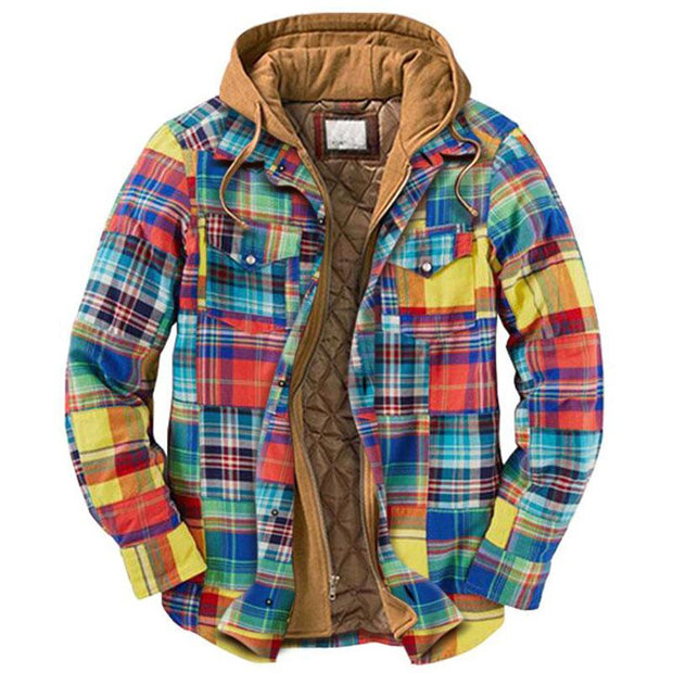 Men's Casual Plaid Padded Hooded Jacket Coat