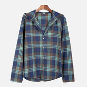 Man Casual Lapel Plaid Pattern Shirt