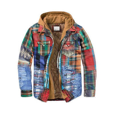 Man Multicolor Pocket Hooded Plaid Zipper Coat