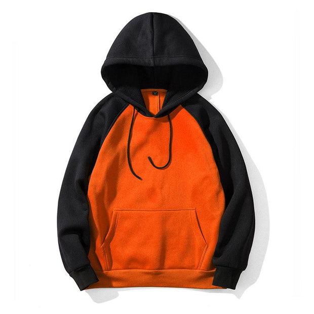 Men's Casual Contrast Color Sport Hooded Pullover