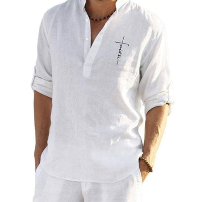 Men's Stand-up Collar Cotton And Linen Shirt