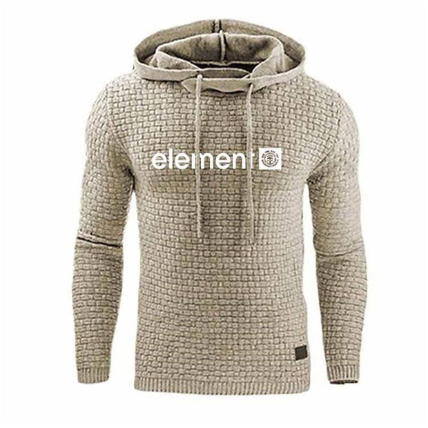 Man Casual Jacquard Letters Print Hooded Pullover