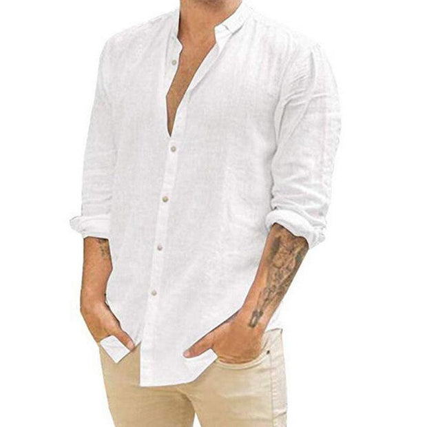 Men Casual Solid Color Stand-up Collar Shirt