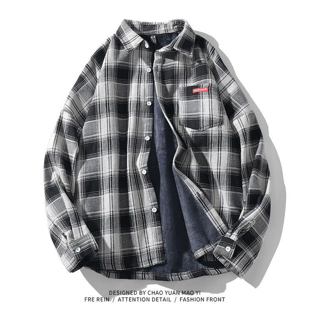 Men Street Style Plaid Long Sleeve Shirt
