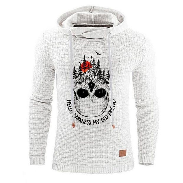 Man Casual Jacquard Skull Letters Print Hooded Pullover