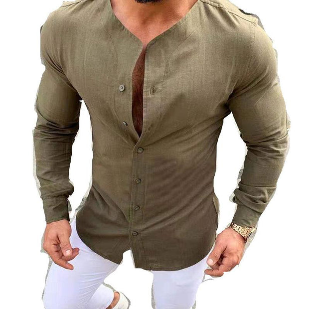 Men's Simple Single Breasted Solid Color Shirt Pullover