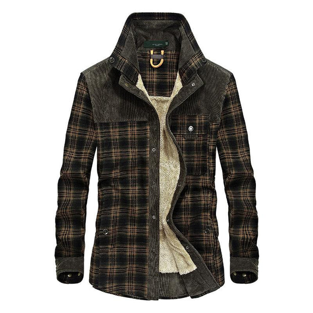 Casual Plaid Thick Man Coat