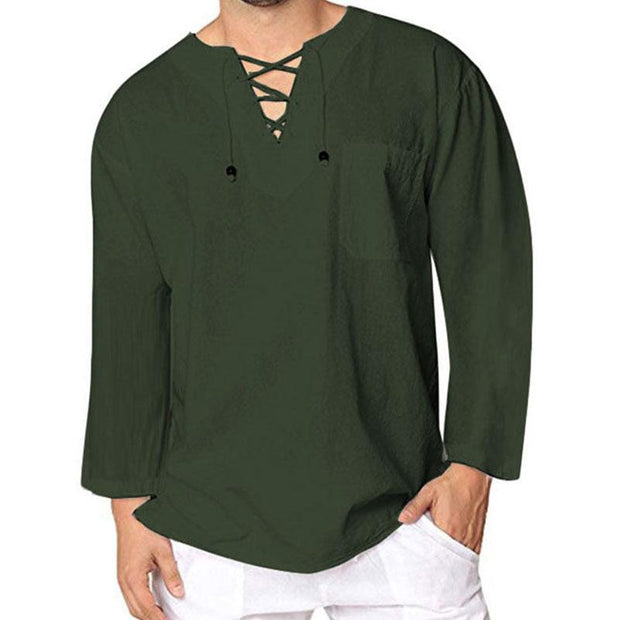Men's Country Style Solid Color Laced-up Shirt Pullover