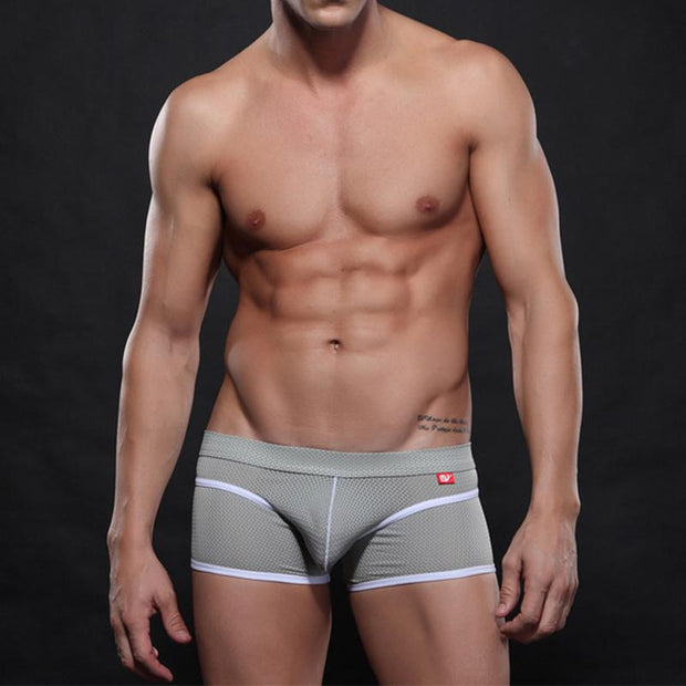 Man Nylon Solid Color Mesh Hole Underpants