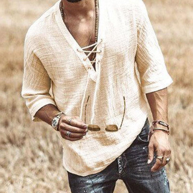 Men's Solid Color Laced-up Half Sleeve Shirt Pullover