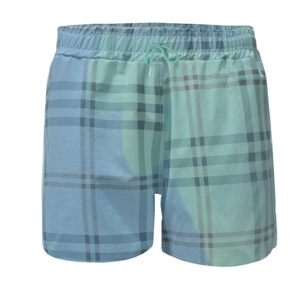 Men Casual Thermochromic Plaid Swimming Pants