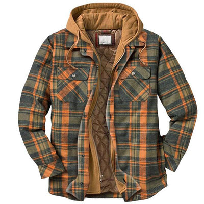 Vintage Orange Plaid Casual Man Hooded Coat