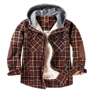 Man Cap Collar Hooded Plaid Coat