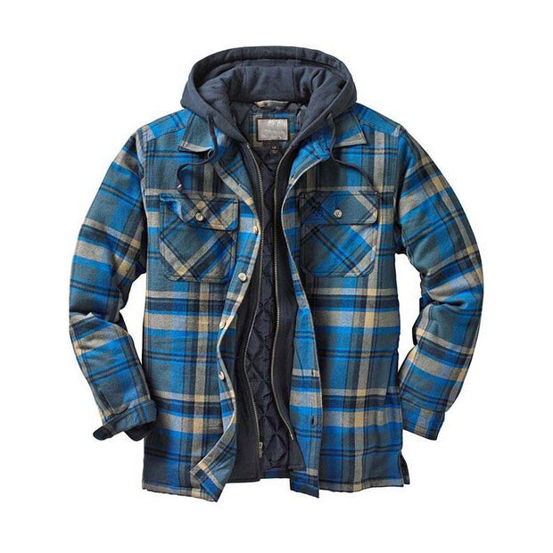 Casual Plaid Thick Hooded Man Coat