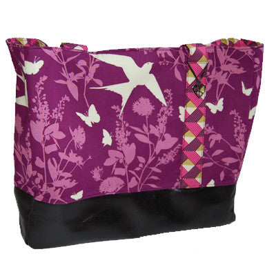 Purple Butterfly and Bird Tote