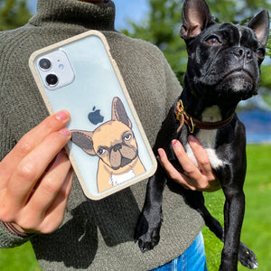 Clear Frenchie Portrait iPhone 13 Pro Case With London Fog Ridge