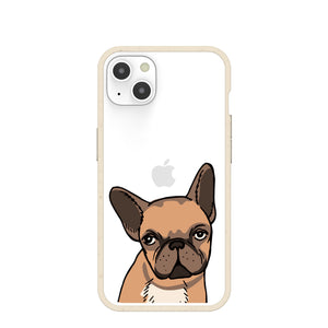 Clear Frenchie Portrait iPhone 13 Case With London Fog Ridge