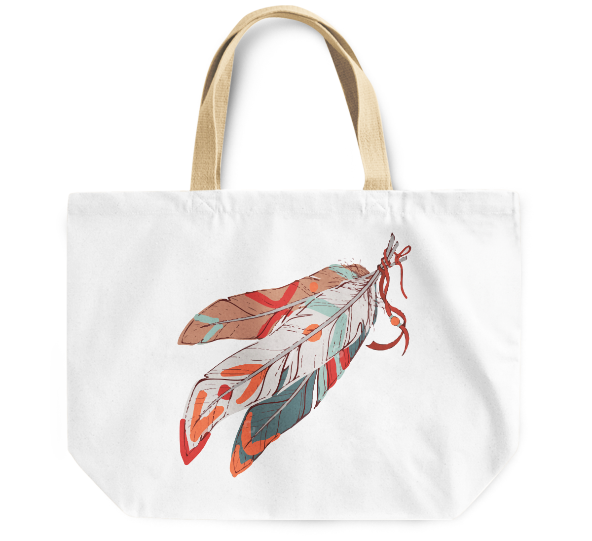 Tote Bag Native indian theme feathers By Loud Universe