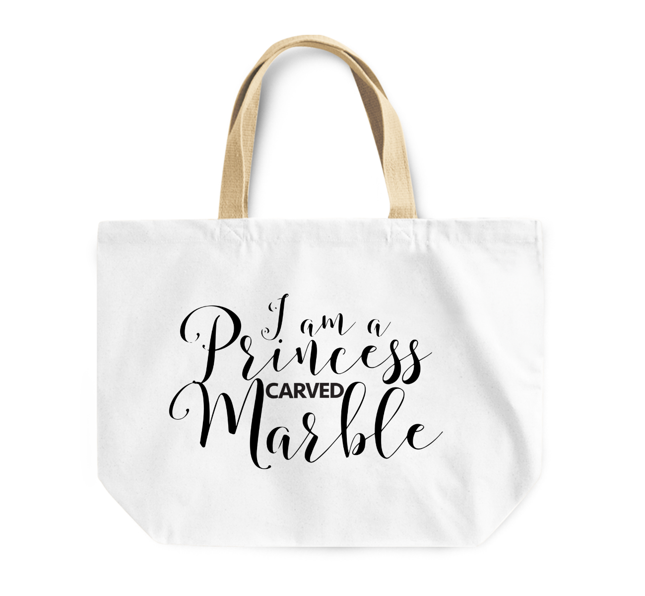 Tote Bag i Am a Princess Carved Marble Women Power Reusable Shopping Bag By Loud Universe