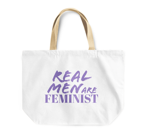 Tote Bag Real Men Are Feminist Girl Power Reusable Shopping Bag By Loud Universe