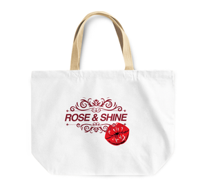 Tote Bag Pretty Rose And Shine Kiss Red Lips Reusable Shopping Bag By Loud Universe