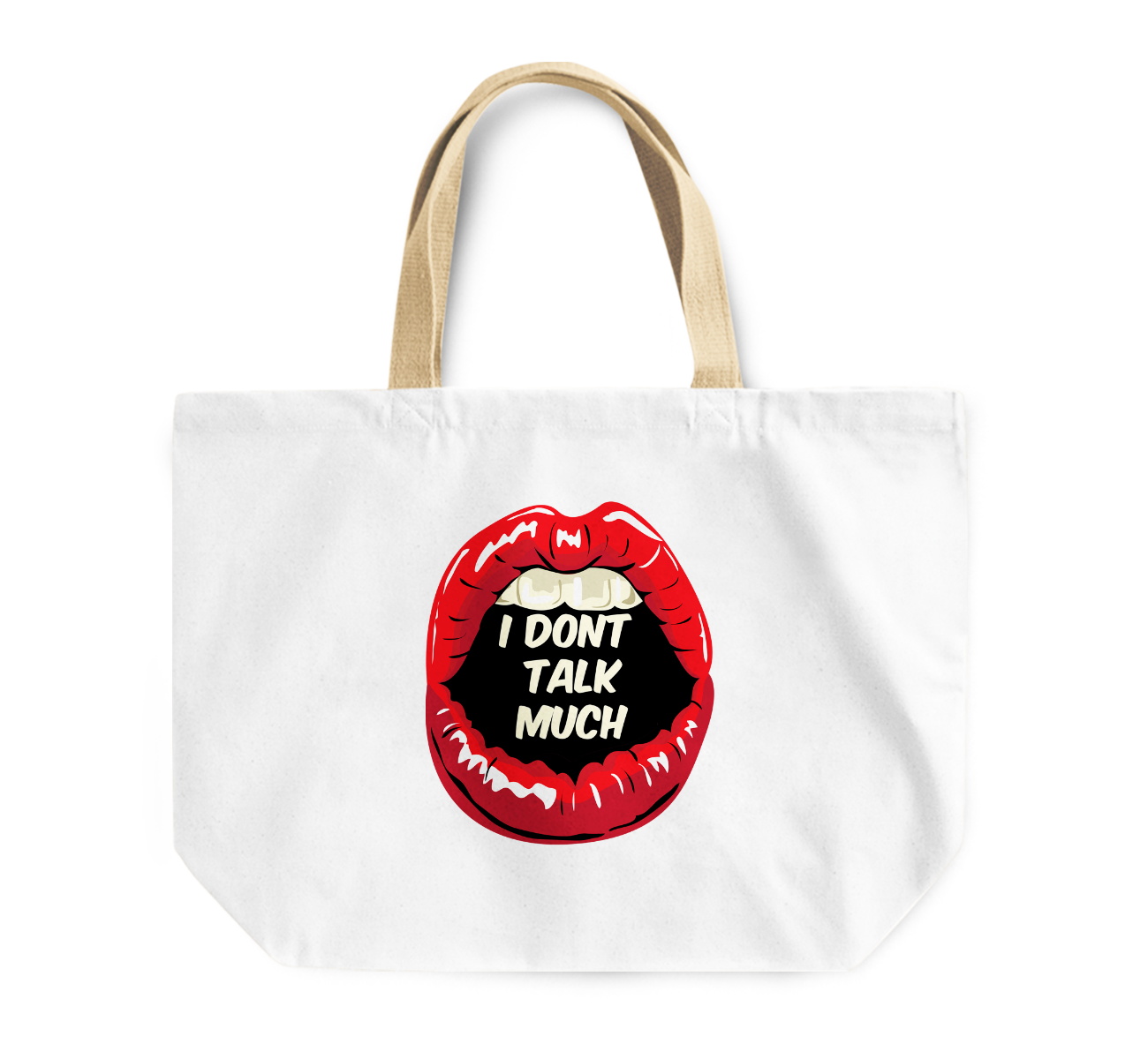 Tote Bag i Dont Talk Much Red Lipstick Women Reusable Shopping Bag By Loud Universe
