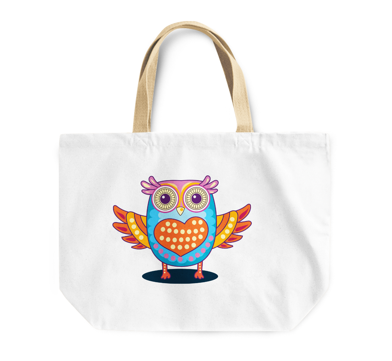 Tote Bag Lovely Cute Owl Heart Reusable Shopping Bag For Couples By Loud Universe