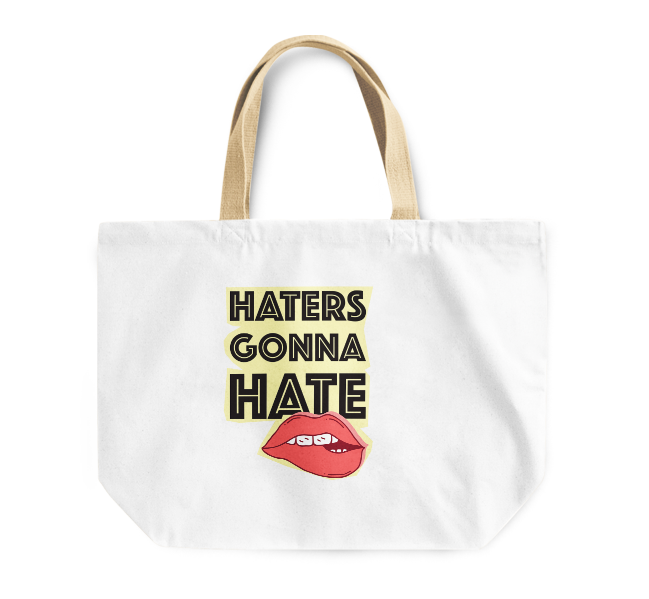 Tote Bag Haters Gonna Hate Seductive Red Lips Reusable Shopping Bag By Loud Universe