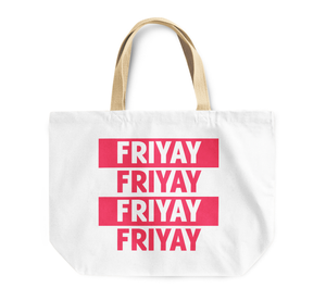 Tote Bag Friyay Friday Weekend Happiness Reusable Shopping Bag By Loud Universe
